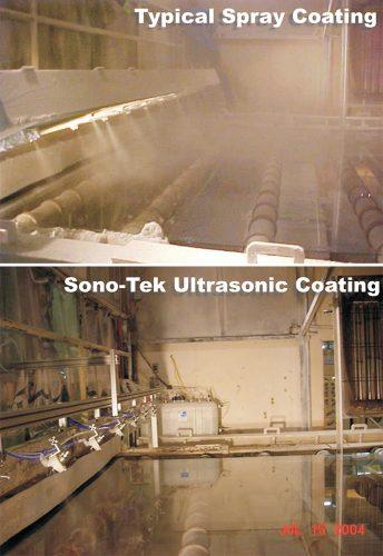Sono-Tek ultrasonic spray vs. pressure spray for float glass