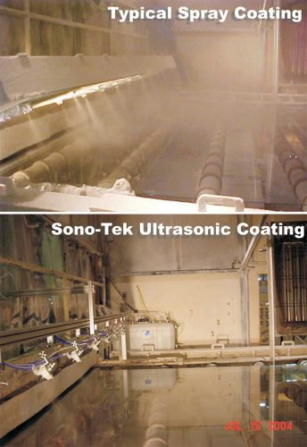 Sono-Tek ultrasonic spray vs. pressure spray for float glass